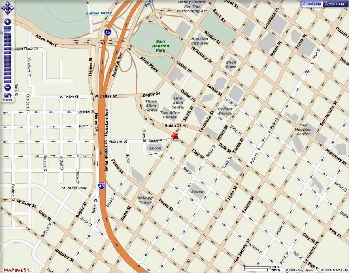 Houston Downtown Zemėlapis Zemėlapis Iki Miesto Centro Hiustone